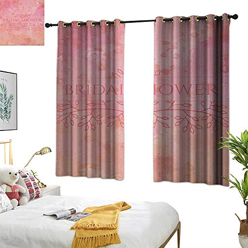 Warm Family Door Curtain Bridal Shower,Bride Invitation Grunge Abstract Backdrop Floral Design Print, Pale Pink and Salmon 72