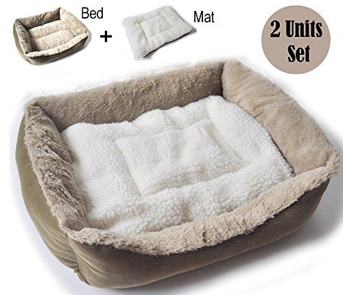 Ballmie Pet Bed Mat Cushions Blanket Set - cat bed, dog bed, cat cushion, soft, Large Size, XLSize (Small Bed+Mat (2 Unit Set))