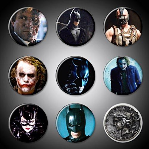 Batman Movie Superhero and Villians Pins Pinback Set of 9 Christian Bale, Joker Heath Ledger Harvey Dent Two-Face Bane and Coin Catwoman 1.75