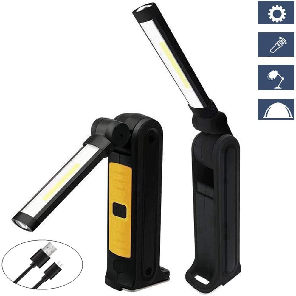 AndThere LED Work Light Rechargeable Flashlight 5 Modes Super Bright Handheld COB Inspection Lamp with Hanging Hook/&Magnetic base,300/°Rotate Portable Magnetic Work Light for Auto Repair Workshop