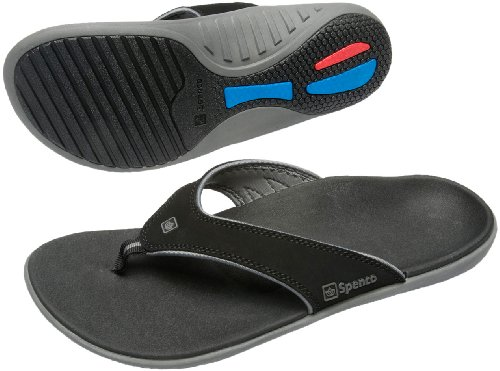 Spenco Polysorb Total Support Yumi Sandals, Black/Pewter, Men's 10