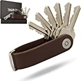 Compact Key Holder Leather Keychain - Pocket Smart Key Organizer Holders - 100% Real Leather - Secure Locking Mechanism - Key Chain up to 10 Keys & Tools - EDC Stainless Steel Bottle Opener Multitool