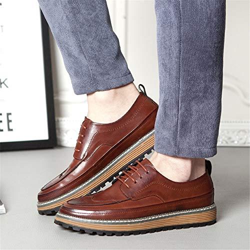 Redonda EU Zapatos Qiusa Brogues para 44 con Color tamaño Rojo Zapatos Casuales Punta con cómodos cómodos y Zapatos Brogues Cordones Hombres wvHBvq
