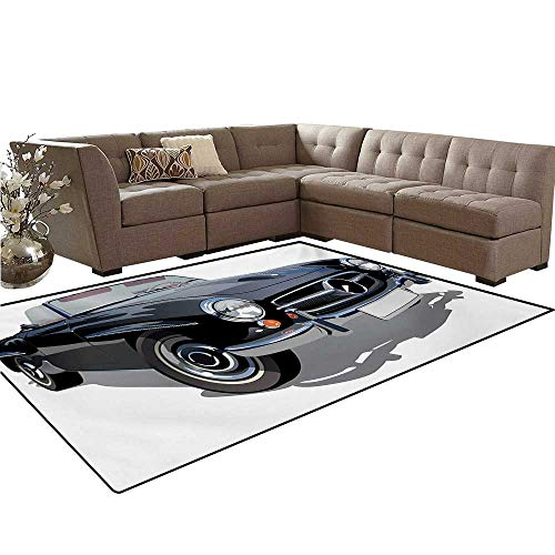 (Cars Door Mats for Inside Classical Retro Vehicle Antique Convertible Prestige Old Fashion Revival Bath Mat 5'x6' Black Pale Grey White)