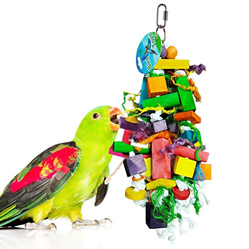 SunGrow Parrot Chewing Toy with Multicolored Wooden Blocks