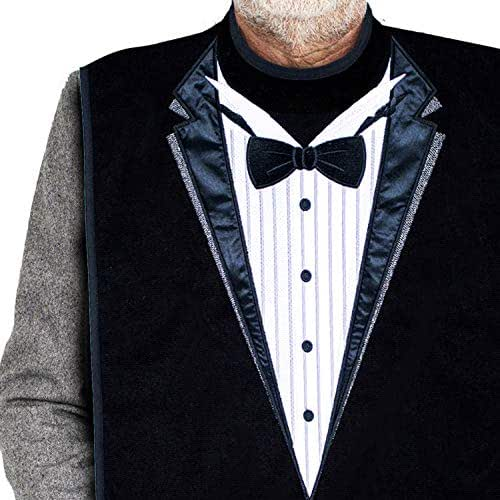 Classy Pal, Adult Bibs for Men, Clothing Protectors for Eating, Senior Adult Bib Terry Cloth Crumb Catcher, Embroidered Design, Waterproof, Reusable, Washable (Tuxedo)