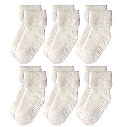 Epeius Baby Boys' Non-Skid Turn Cuff Socks Infants Super Soft Terry Cotton Booties for 6-18 Months Natural White (Pack of (Infant Terry Socks)