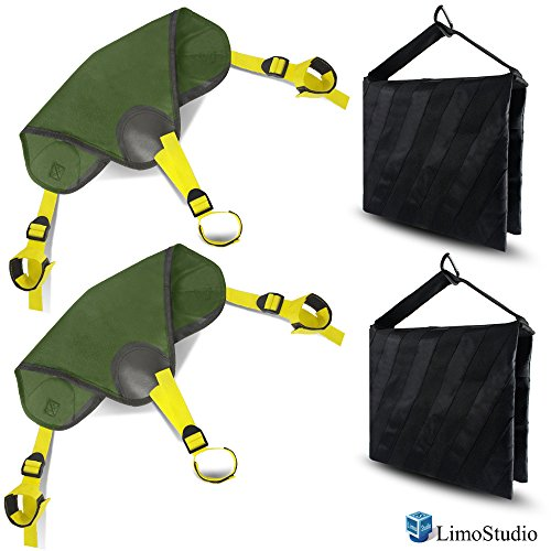 LimoStudio 2 Pcs Saddlebag New Sand Bag Heavy Duty and 2 pcs Stone Bag for Universal Light StandBags, Holds 18lbs Photo Studio Light Stand & Boom Stand, AGG2624 by LimoStudio