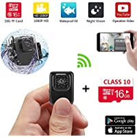 MidZoo Mini sports DV Camera WiFi Waterproof Video Recorder Small Portable Indoor and Outdoor R3 1080P HD IR Night Vision Nanny Cam( 16GB,updated verison)