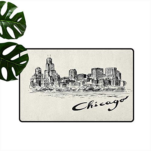 Chicago Skyline Large Outdoor Indoor Rubber Doormat Vintage Artwork of American City in Hand Drawn Style Sketchy Effects Mildew Proof W29 x L39 Black and Cream
