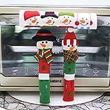 Laza Christmas Fridge Handle Covers, 3PCS Snowman Kitchen Appliance Refrigerator Handle Covers for Kitchen Christmas Decoration (Set 1)