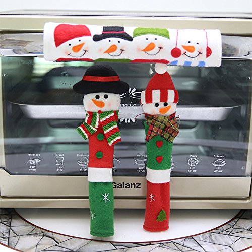 Laza Christmas Fridge Handle Covers, 3PCS Snowman Kitchen Appliance Refrigerator Handle Covers for Kitchen Christmas Decoration (Set 1) by Laza