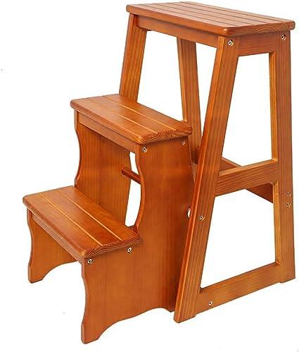 Zichen Silla Taburete Entrada Zapata Banco Taburete Escalera plegable Escalera de 3 escalones Taburete de madera maciza multiusos, Taburete 1, a: Amazon.es: Instrumentos musicales