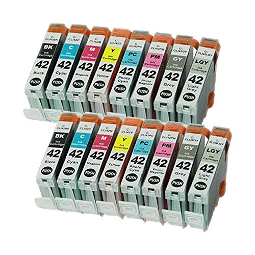 4Benefit CLI-42 8 Colors 2 Set Compatible Premium Ink Cartridge for CLI-42 Pixma Pro-100 (2 Black, 2 Cyan, 2 Gray, 2 Light Gray, 2 Magenta, 2 Yellow, 2 Photo Cyan, 2 Photo Magenta) by 4Benefit