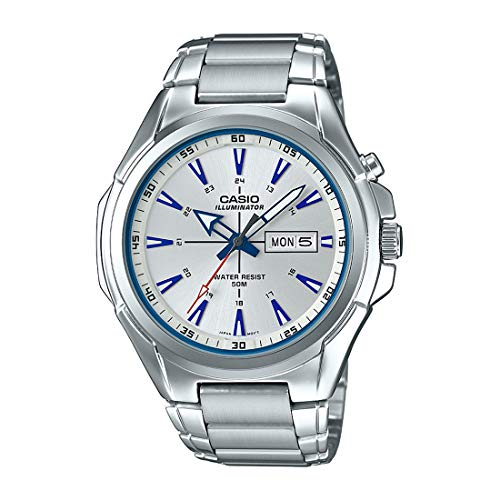 - Casio MTP-E200D-7A2V Men's Stainless Steel Illuminator Day Date Silver Dial Watch