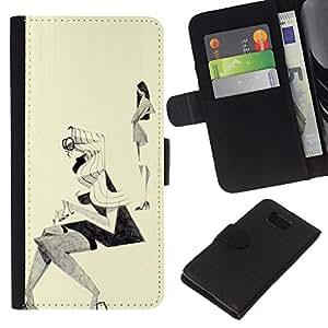 Be-Star la tarjeta de Crédito Slots PU Funda de cuero Monedero caso cubierta de piel Para Samsung ALPHA G850 ( Fashion Sketch Outfit Design Black White )