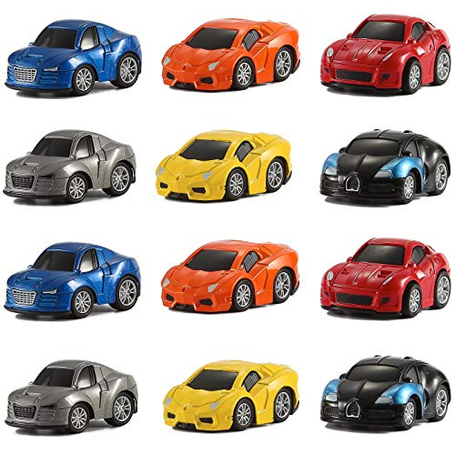 Diecast Import Cars - Liberty Imports 12 Assorted Pullback Diecast Metal Race Cars Set (1 Dozen)