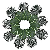 XYXCMOR 24PCS Palm Leaves Decorations Artificial Tropical Leaves Silk Imitation Monstera Plants Leaf Hawaii Luau Jungle Party Beach Theme Table Runners Centerpieces Décor