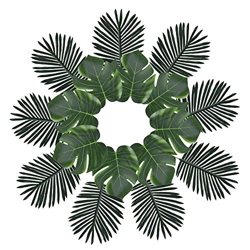 XYXCMOR Set of 24 Artificial Silk Monstera Leaf Fake Palm Leaves Hawaii Tropical Jungle Beach Theme Party Table Centerpieces Decoration Supplies ()