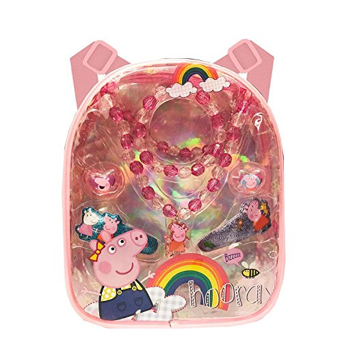 Price comparison product image Peppa Pig Mini Backpack Hair Accessory Gift Set For Girls(+3 years)Perfect Gift Idea For Christmas, Birthday, Easter, Get Well or Any Other Occasion(2 styles) (Peppa Pig(Necklace))