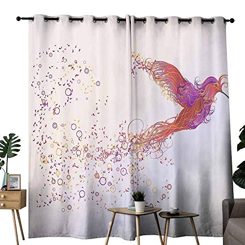 Phoenix Decor with Pink Purple Orange White Pictures of Bird Love Home Wild Animals Tale Mythology for Symbol Exclusive Home Curtains Nature Natural Energy Saving Provides a Modern Look W84 xL84