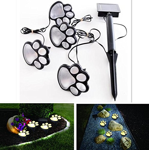Leoie Paw Print Solar lights, Set of 4 Unique Funny Bear Paw Solar Power LED Lawn Lamp Yard Garden Decoration