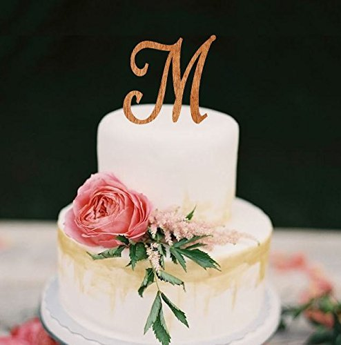 monogram wedding cake topper wooden single letter cake topper rustic cake topper wooden