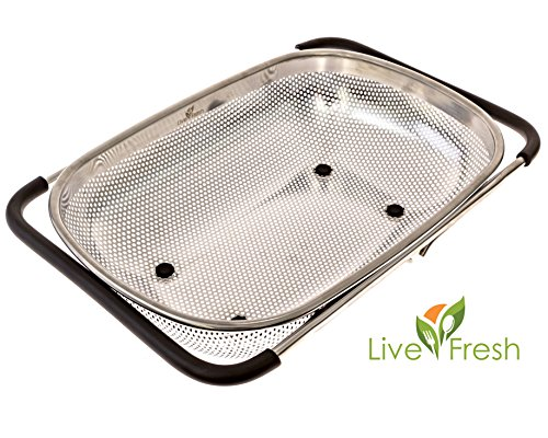 LiveFresh Over the Sink Micro-perforated Stainless Steel 4-Quart Colander with Non-Slip Handle Grips and Rubber Feet - Handles Extend to Fit Any (Oval Tilt Top)
