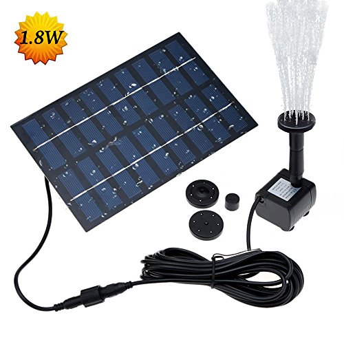 Latitop 1.8W Solar Fountain Free Standing Floating, Submersible Solar Water Pump with 4 Sprinkler Heads for Different Water Flows, Perfect for Bird Bath, Small Pond and Water Circulation (12FT Cord) (Pumps Pond Garden Submersible Water)