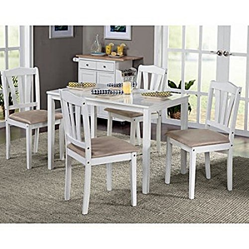 Dining Room Set (5Piece) Modern White Kitchen Furniture White Table & Chairs