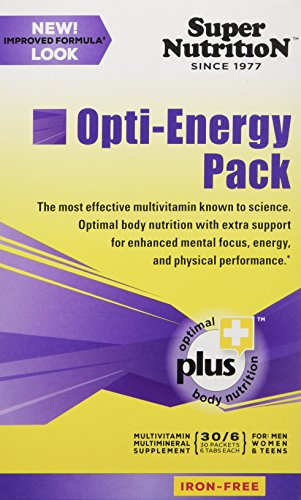 SuperNutrition Opti-Energy Pack Multivitamin, Iron-Free, 30 Packets of 6 tabs