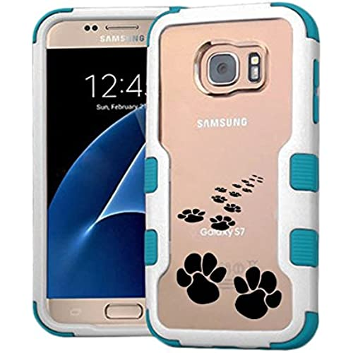 Galaxy S7 Case Animal Footprint, Extra Shock-Absorb Clear back panel + Engineered TPU bumper 3 layer protection for Samsung Galaxy S7 (New 2016) Blue Sales