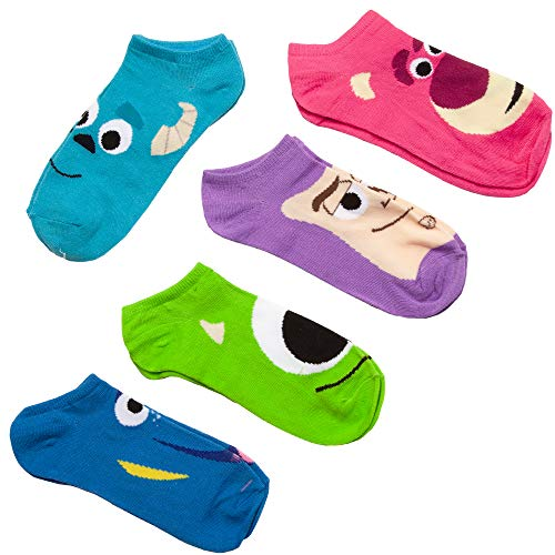 Pixar Toy Story, Monsters Inc, Finding Nemo 5-pack Faces No Show Socks