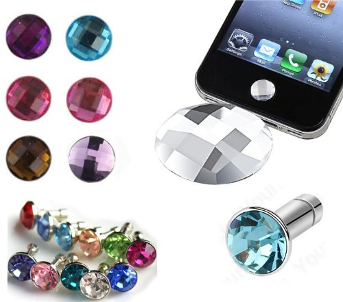 (Assorted 12 Piece Gift Set 6 Diamond Ear Phone 3.5mm Plugs Anti-Dust Stoppers with Jewel Boxes for iPhone 5 4/4s 3G 3GS, iPad Mini, iPad, iTouch + 6 Assorted Pieces Crystal Diamond Home Button Stickers )