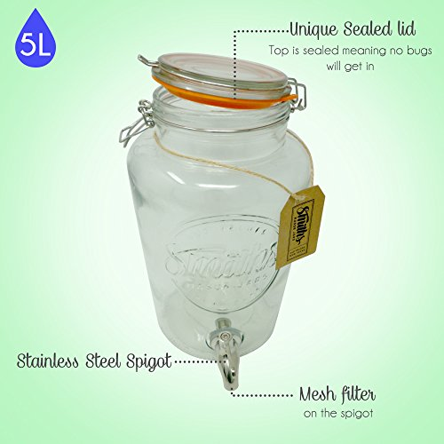 5 Litre Drinks Dispenser with Steel Spigot, wire mesh (to stop blockages) and gift tag, it's the Ultimate Drinks cooler - By Smith's Mason Jars by Smith's Mason Jars (Image #2)