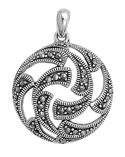 - Pendant Simulated Marcasite .925 Sterling Silver Cutout Charm Vintage Crafting Pendant Jewelry Making Supplies - DIY for Necklace Bracelet Accessories by CharmingSS