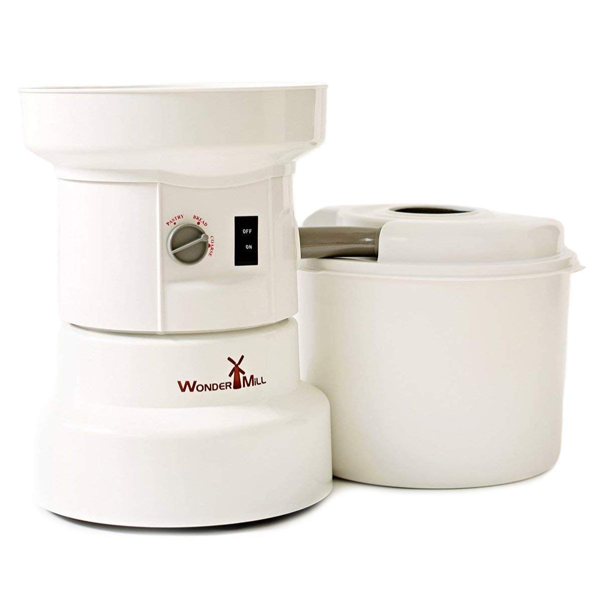 Powerful Electric Grain Mill Wheat Grinder for Home and Professional Use - High Speed Grain Grinder Flour Mill for Healthy Grains and Gluten-Free Flours - Electric Grain Mill by Wondermill,White by WONDERMILL