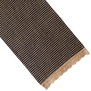 Country House Collection 54 Black Checkered Grannys Runner With Lace Design Edge
