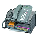 Safco 2160BL Onyx Angled Mesh Steel Telephone Stand, 11 3/4 x 9 1/4 x 7, Black