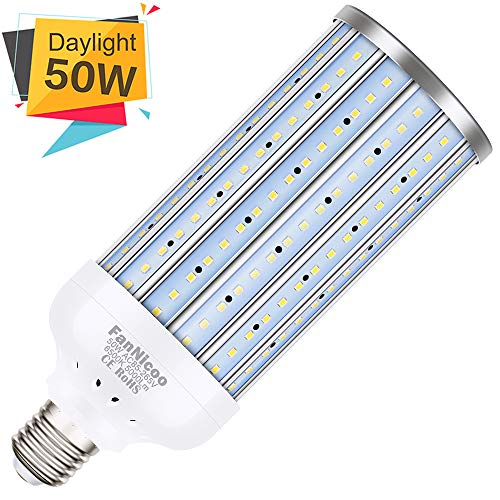 LED Corn Light Bulb 50W(350W Equivalent 5000Lumen 6500k) Large Area Cool Daylight White Corn Bulb E26/E27 Medium Base for Indoor Outdoor Garage Warehouse Factory Workshop Barn Backyard New Upgraded (Best Light Bill Payment)