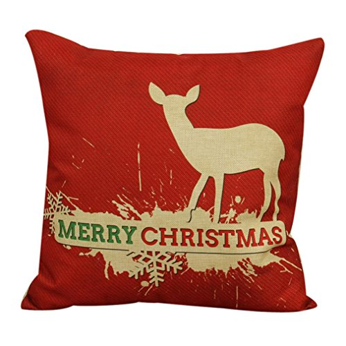 Clearance!Pillow Cover,Canserin Vintage Christmas Pillow Case Cotton Linen Decorative Throw Pillow Case Cushion Cover 17