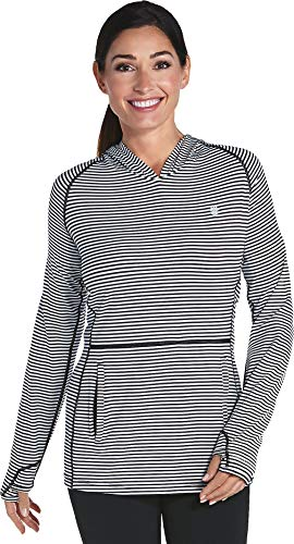 - Coolibar UPF 50+ Women's Tempo Hoodie - Sun Protective (Medium- Fine Black/White Stripe)