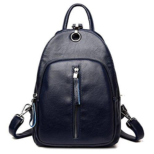 (JVP1066-R) Luc Sheep mochila de cuero resistente al agua Cute 5 colores de cuero natural bolso de gran capacidad para las niñas Fashion Fashion Bag ligero mochila Commuter School Azul Marino