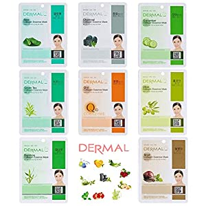 Dermal Collagen Essence Full Face Facial Mask Sheet 8 Combo Pack (Set-C)