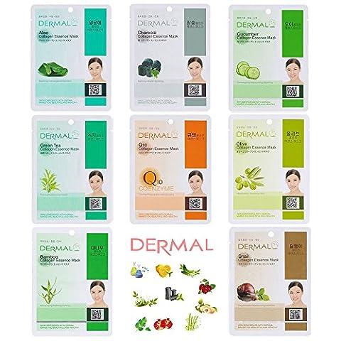Dermal Collagen Essence Full Face Facial Mask Sheet 8 Combo Pack (Set-C) - Face Sheet