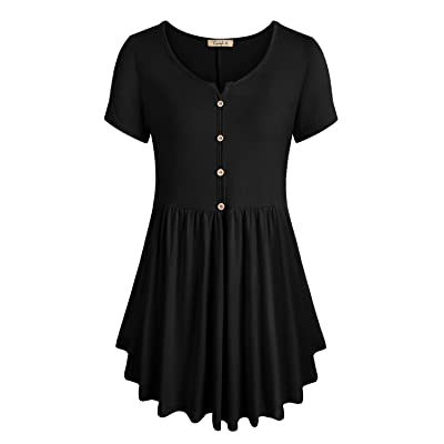 Cyanstyle Women's V Neck Henley Pleated Flare Button Casual Tunic Blouse Tops: Clothing