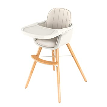 3d5fb85b266e Ambermier Kids Wooden High Chair with Tray,Adjustable & Foldable High Chair  for Babies and