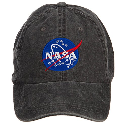 e4Hats.com NASA Insignia Embroidered Washed Cap - Black OSFM - Insignia Baseball Cap