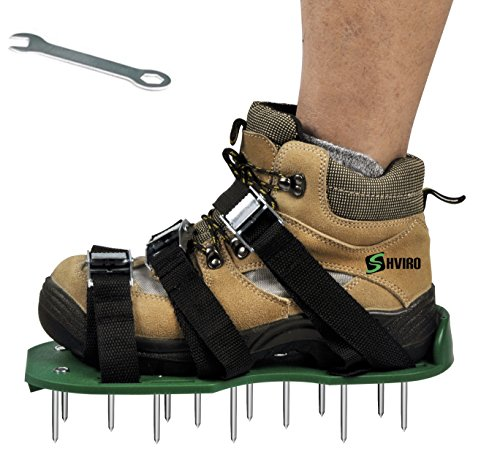 SHVIRO Lawn Aerator Shoes - Best Lawn Spike Aerator Shoes - Dense And Deep Spikes for Effective Soil Aeration-Each Shoe with 3 Durable Straps and Metal Buckles-Small Wrench as Free Bonus - Model 2016