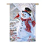 Evergreen Enterprises 65039 Flag Regular Snowman And Feathered Friend Glitter Detail, 29″ x 43″